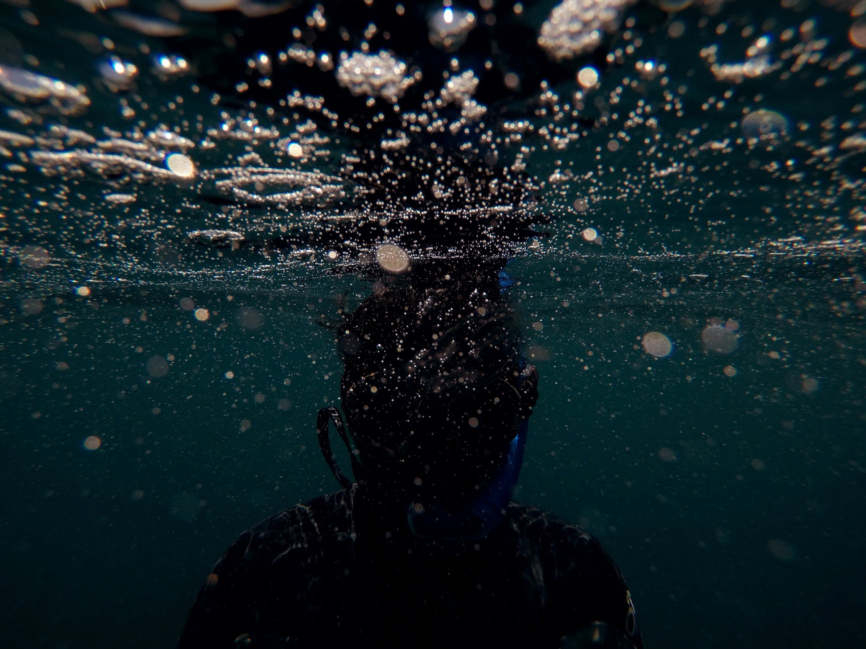 a person underwater